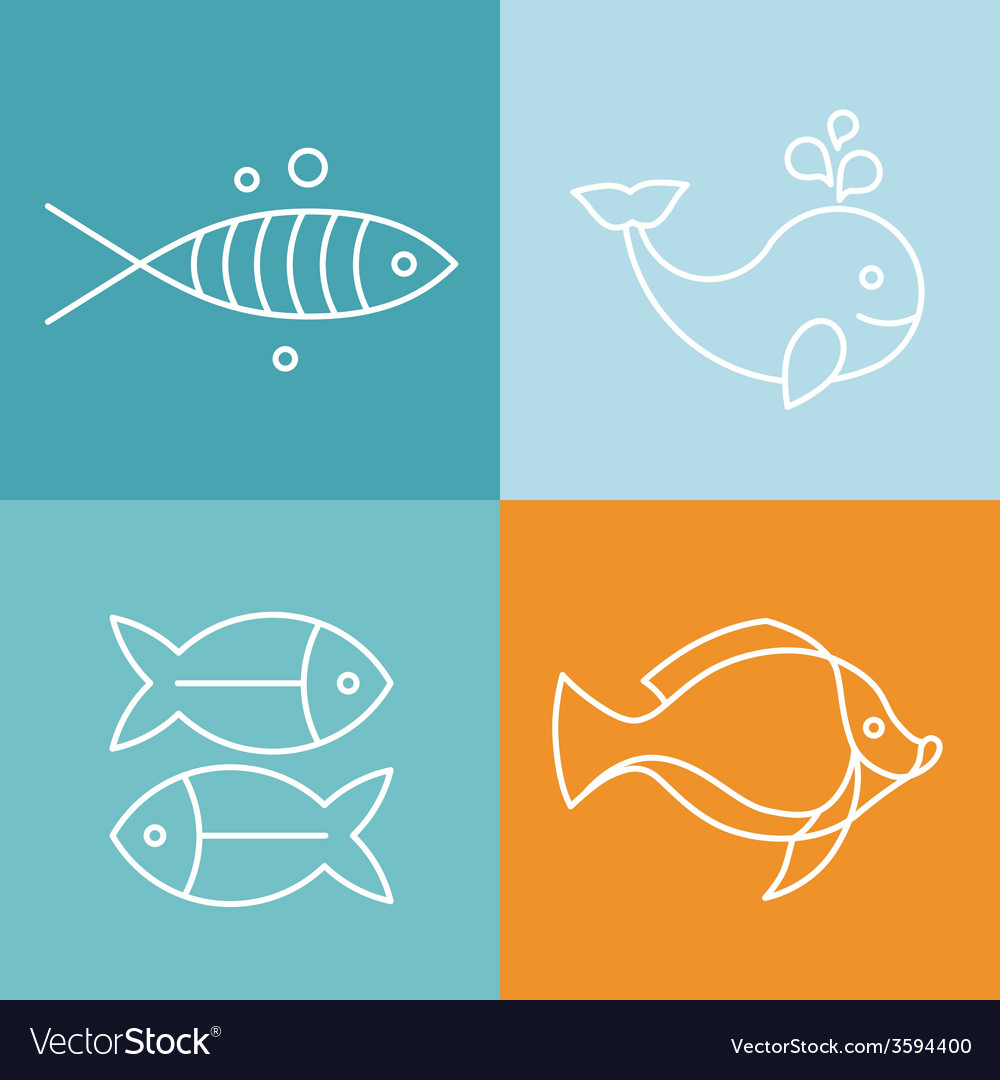 Line fish logos and signs vector | Price: 1 Credit (USD $1)