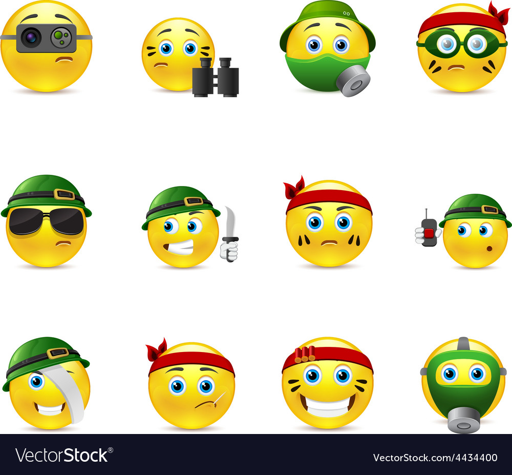 Military smilies vector | Price: 1 Credit (USD $1)