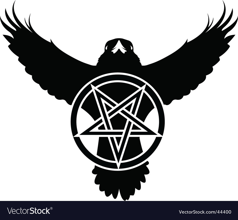 Raven crow pentagram star vector | Price: 1 Credit (USD $1)