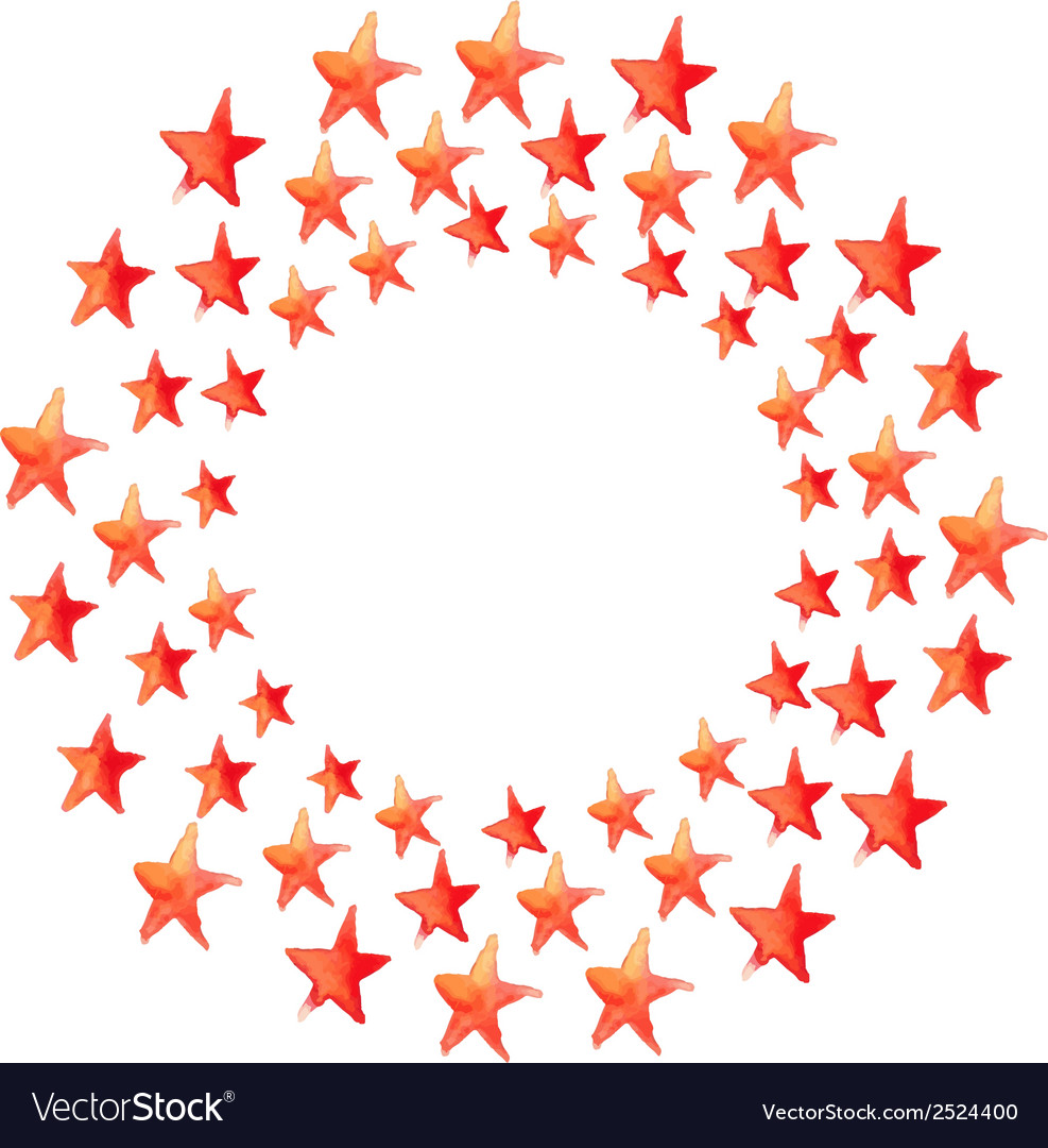 Red watercolor stars circle vector | Price: 1 Credit (USD $1)