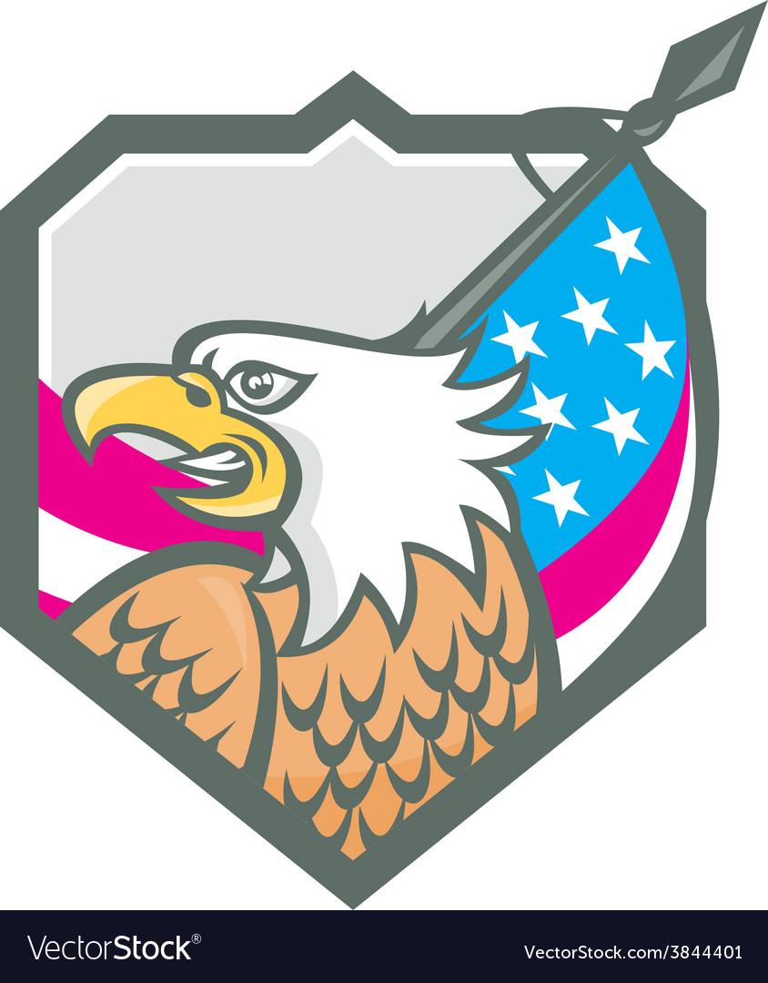 American bald eagle flag spear retro vector | Price: 1 Credit (USD $1)
