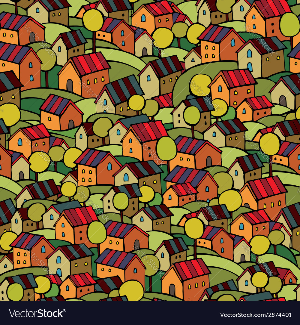 Autumn houses seamless pattern vector | Price: 1 Credit (USD $1)