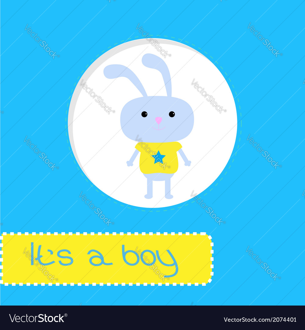 Baby shower card with bunny its a boy vector | Price: 1 Credit (USD $1)