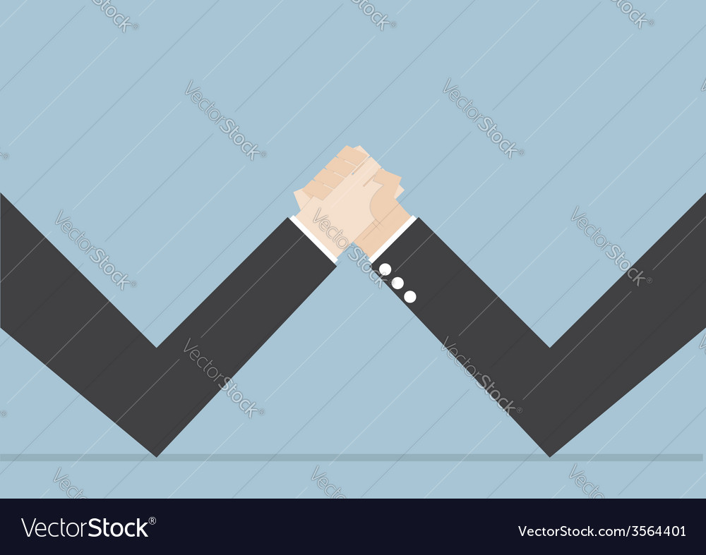 Businessmen doing arm wrestling business conflict vector | Price: 1 Credit (USD $1)