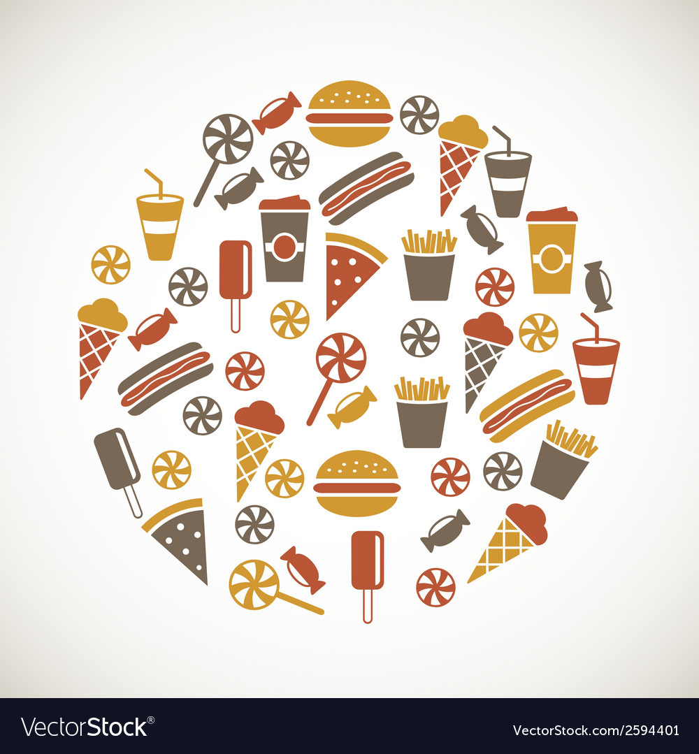 Colorful snack icons vector | Price: 1 Credit (USD $1)