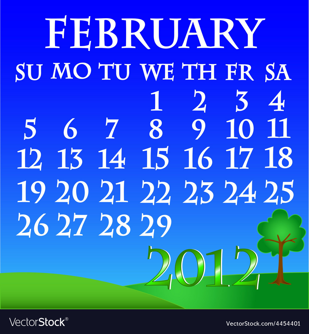 February 2012 landscape calendar vector | Price: 1 Credit (USD $1)