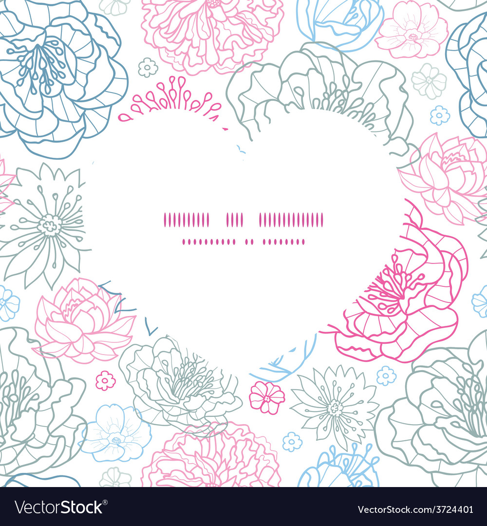 Gray and pink lineart florals heart vector | Price: 1 Credit (USD $1)