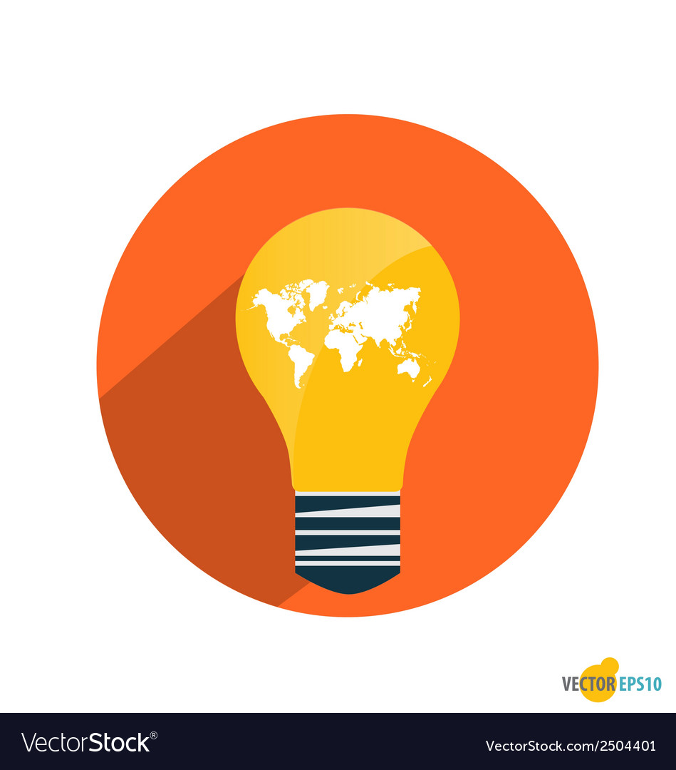 Light bulb with world map vector   Price: 1 Credit (USD $1)