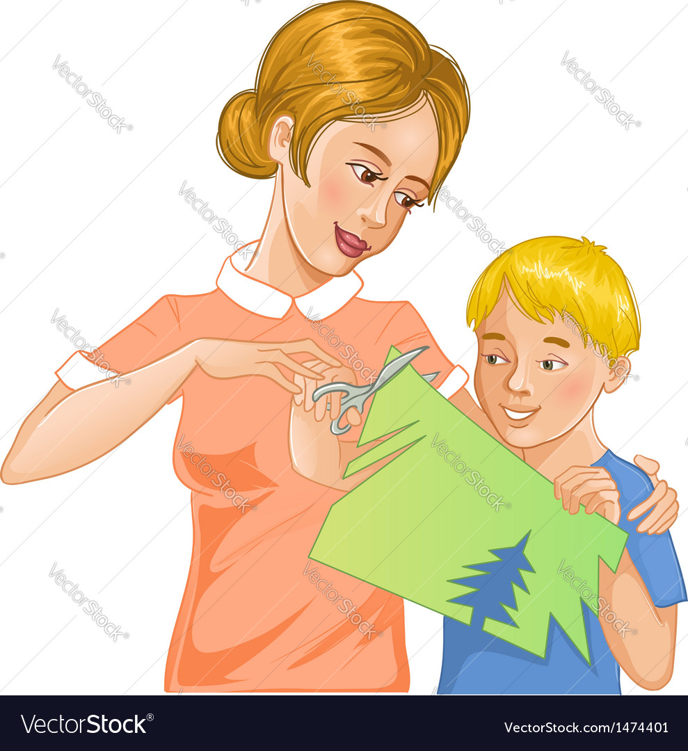 Mother helps son to cut color paper vector | Price: 3 Credit (USD $3)