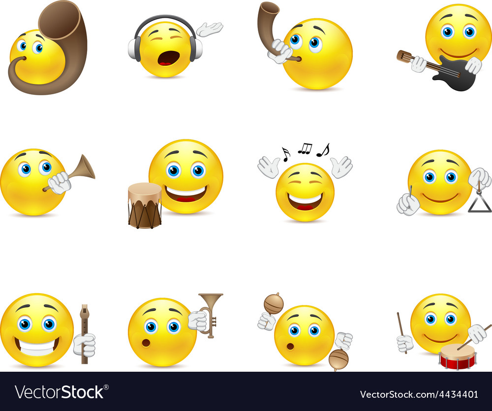 Musical smilies vector | Price: 1 Credit (USD $1)