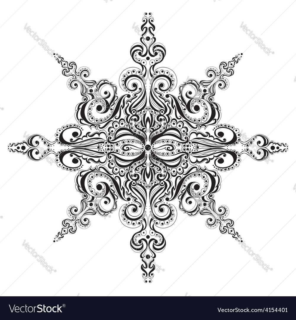 Ornamental black and white snowflake vector | Price: 1 Credit (USD $1)