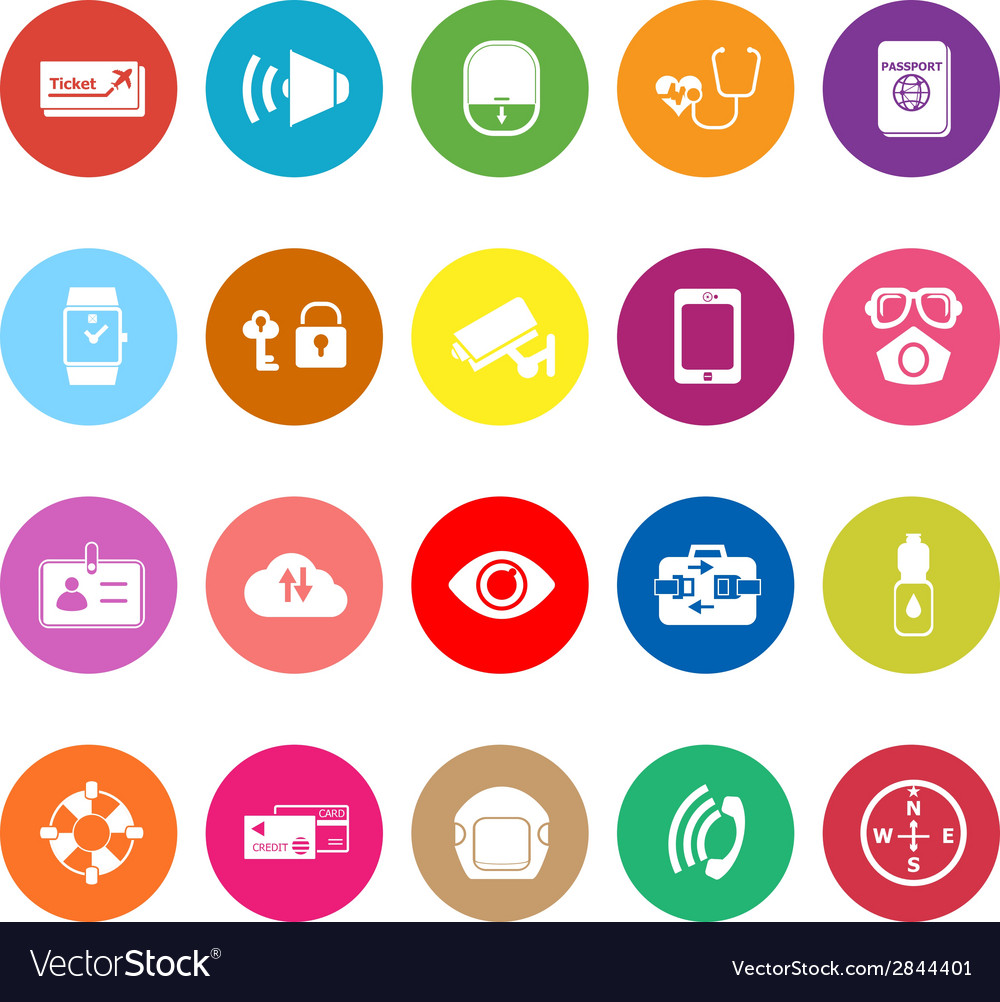Passenger security flat icons on white background vector | Price: 1 Credit (USD $1)