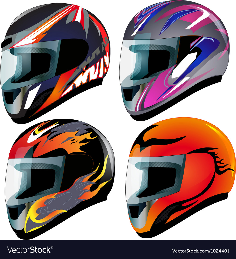 Racing helmets set vector | Price: 1 Credit (USD $1)