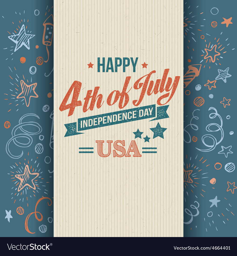 Retro typography card independence day vector   Price: 1 Credit (USD $1)