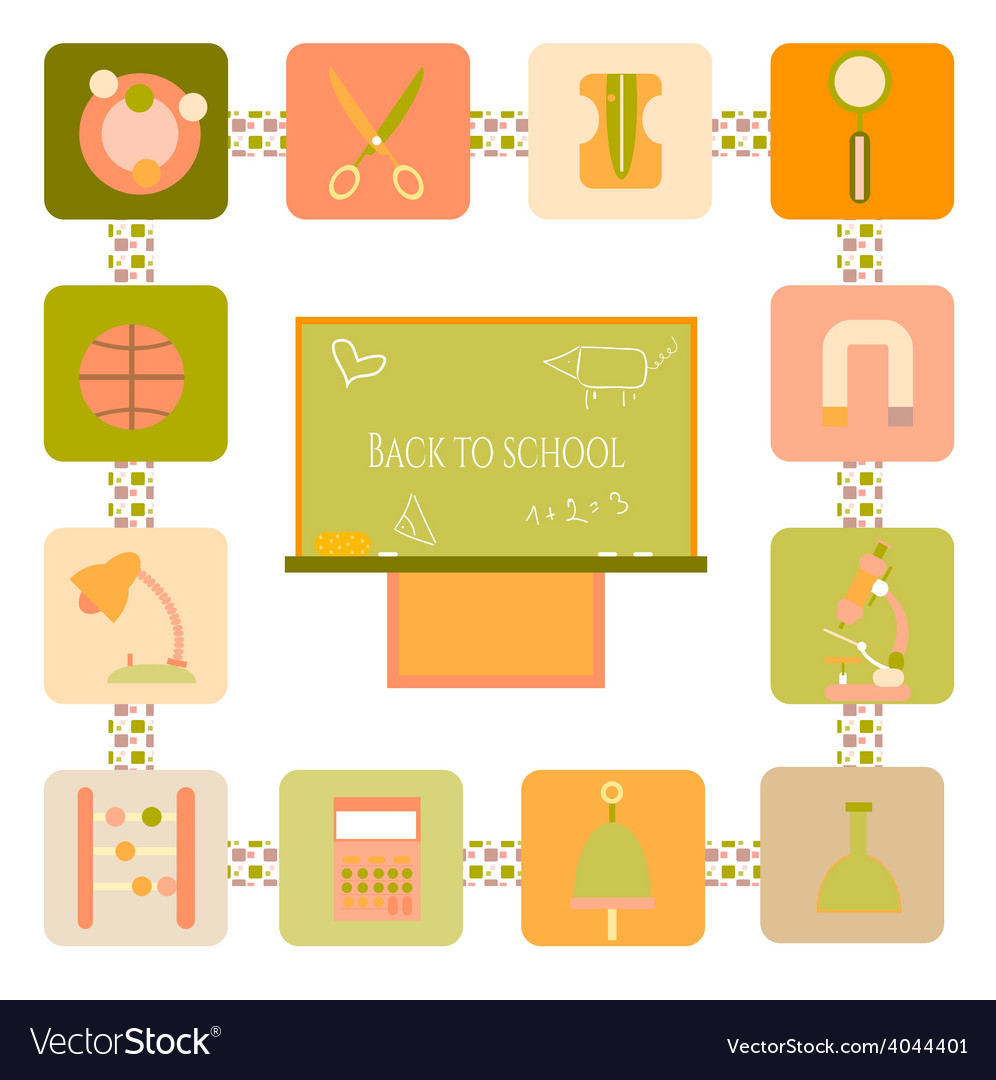 School icons with blackboard vector | Price: 1 Credit (USD $1)
