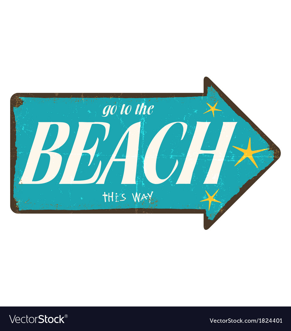 Vintage beach direction sign vector | Price: 1 Credit (USD $1)
