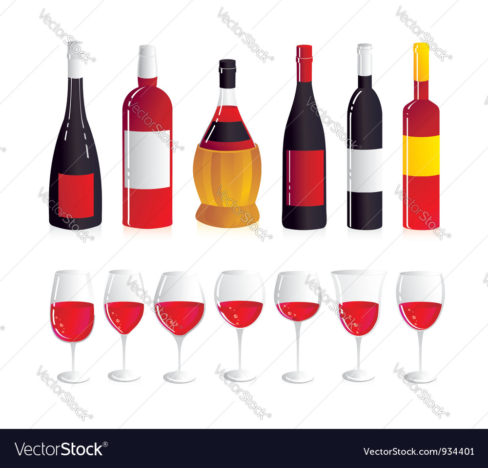 Wine bottles and glasses vector | Price: 3 Credit (USD $3)