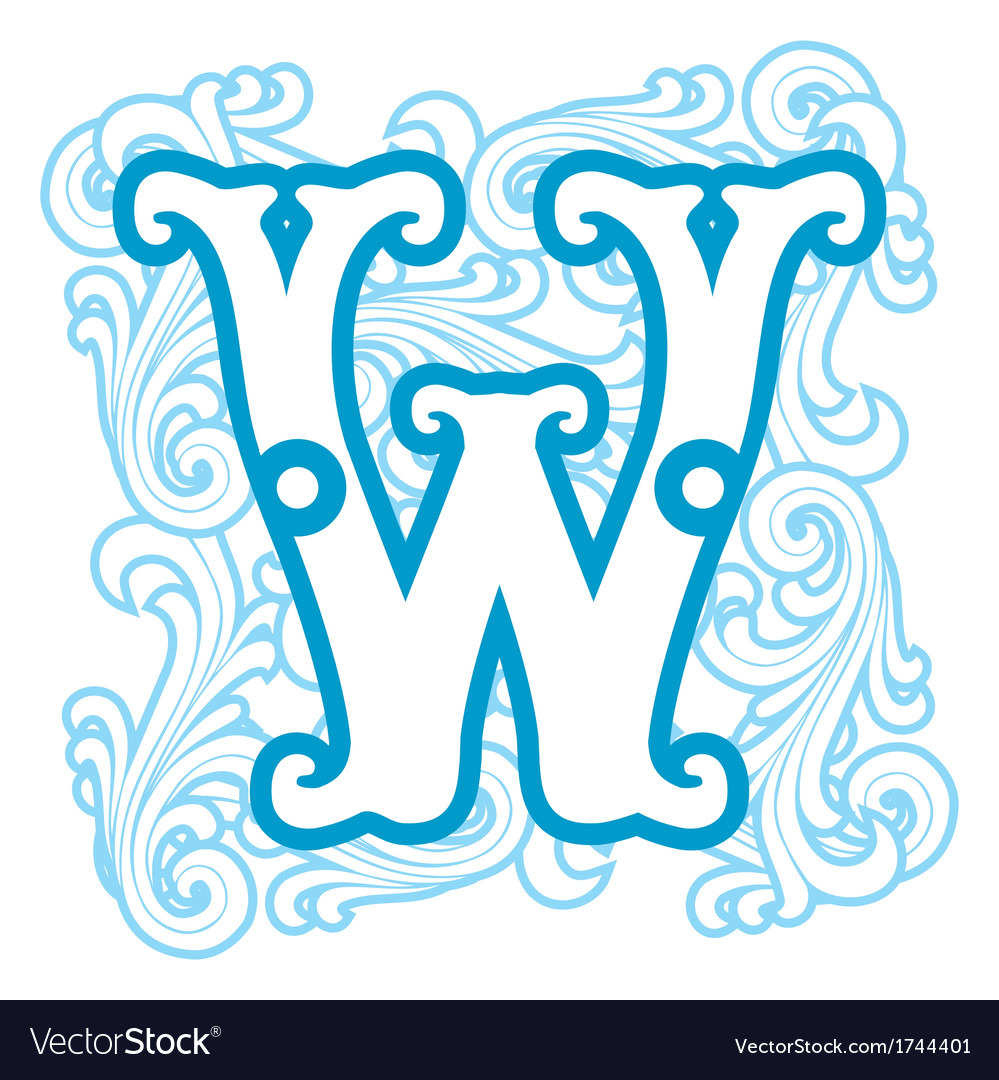 Winter vintage letter w vector | Price: 1 Credit (USD $1)