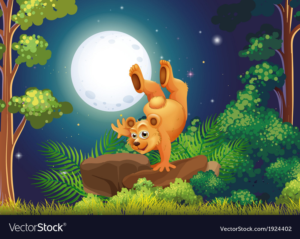 A forest with a playful bear above the rocks vector | Price: 3 Credit (USD $3)