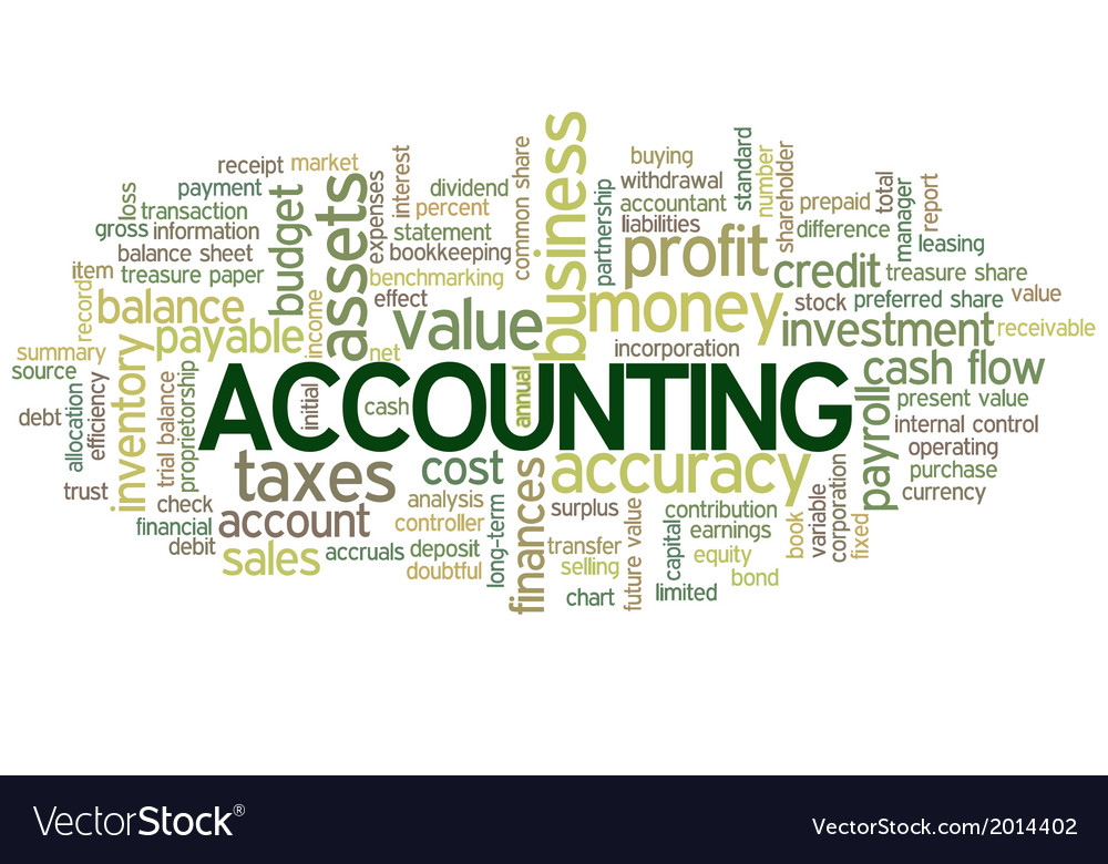Accounting word cloud green bubble tags tree vector | Price: 1 Credit (USD $1)