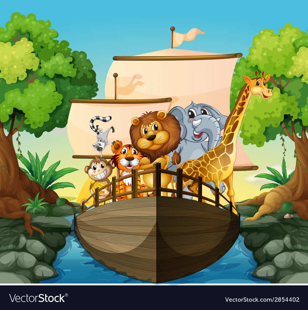 Animals and boat vector | Price: 3 Credit (USD $3)