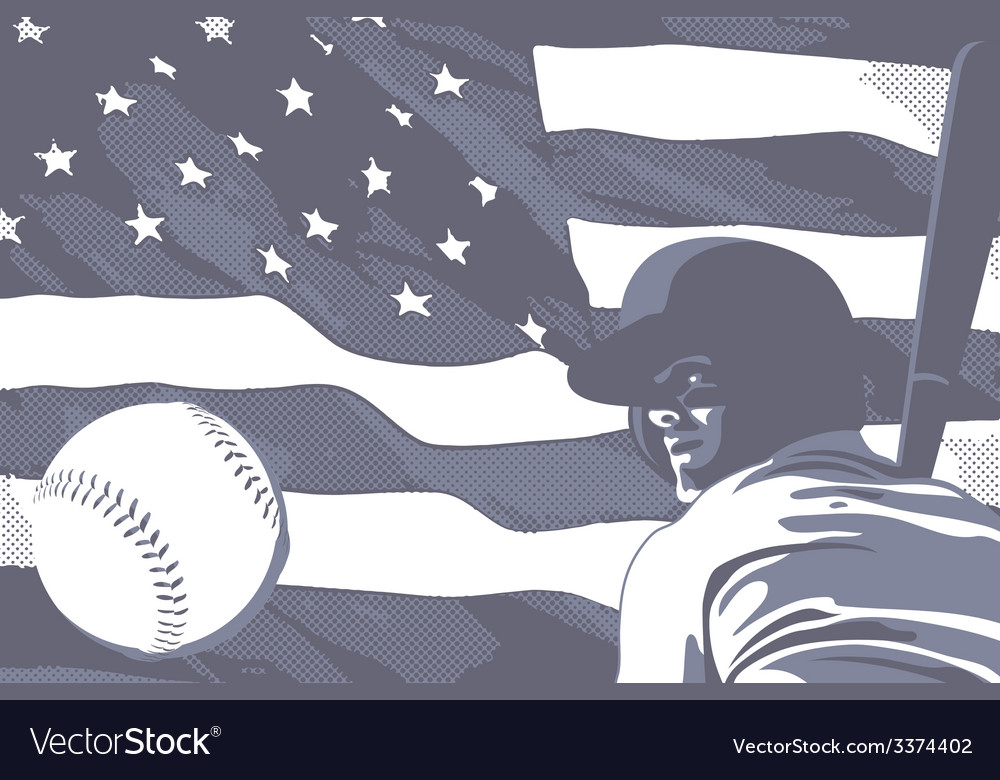 Baseball flag usa bw vector | Price: 1 Credit (USD $1)