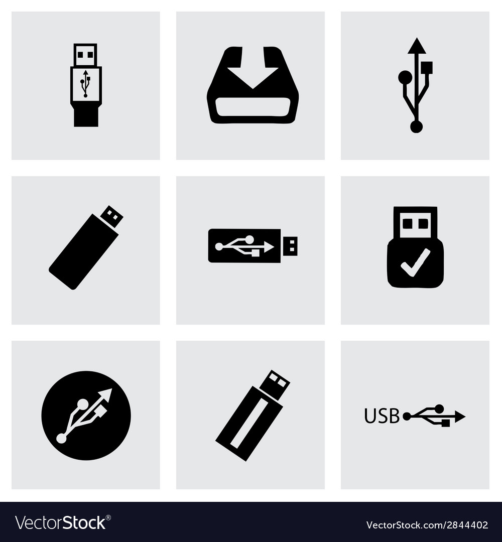 Black usb icons set vector | Price: 1 Credit (USD $1)