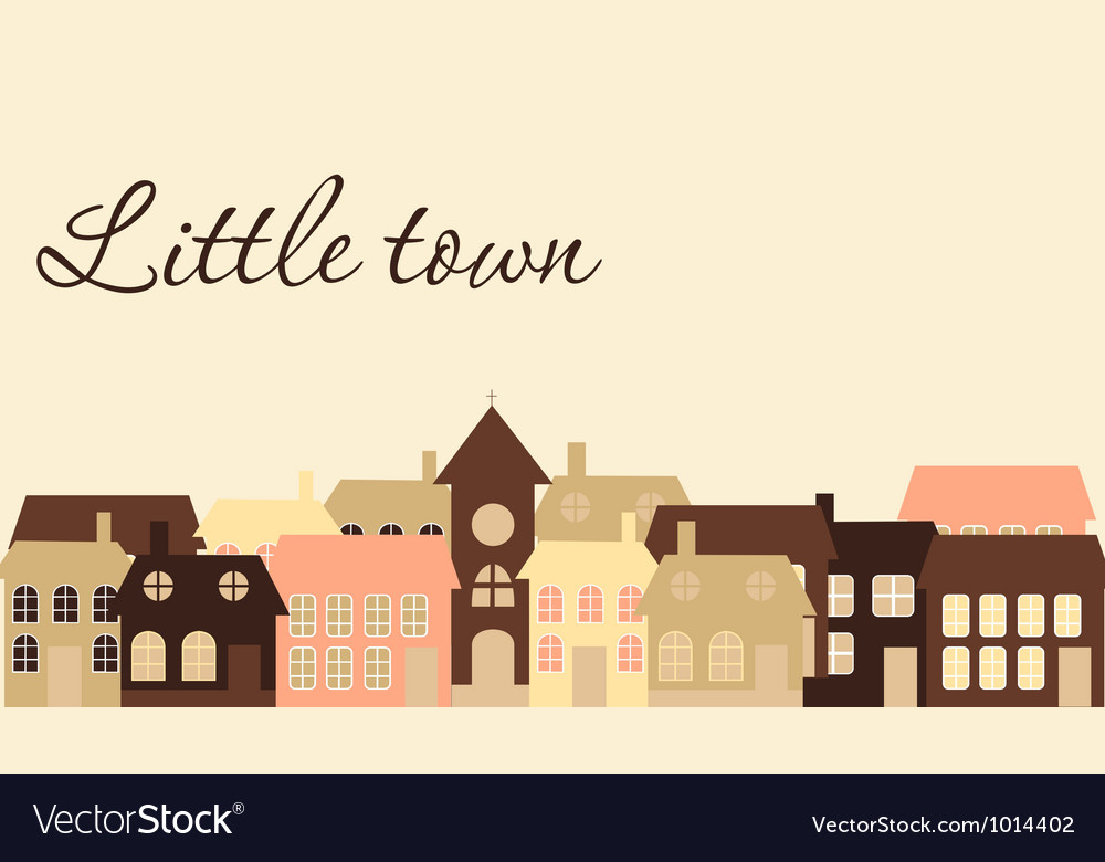 Card with a beautiful little town vector | Price: 1 Credit (USD $1)