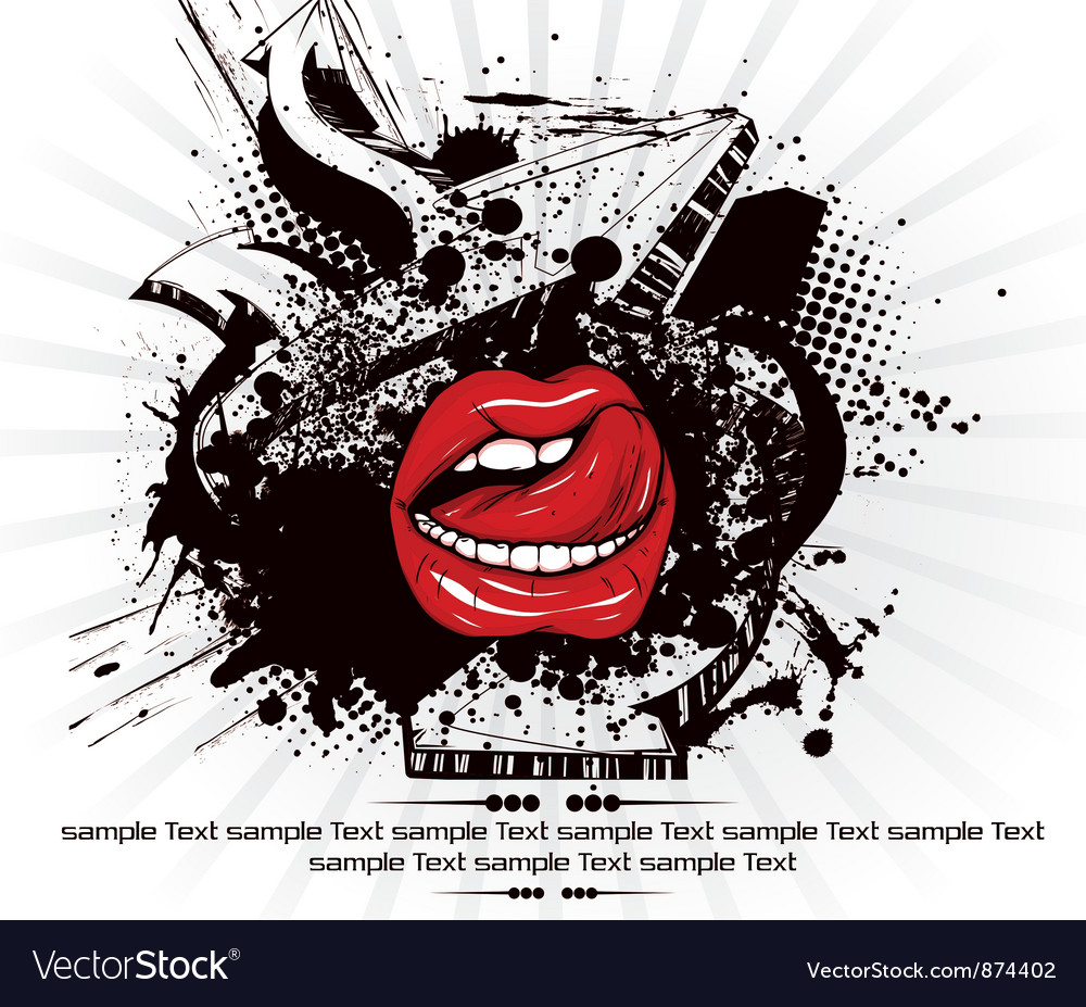 Mouth with grunge vector | Price: 1 Credit (USD $1)