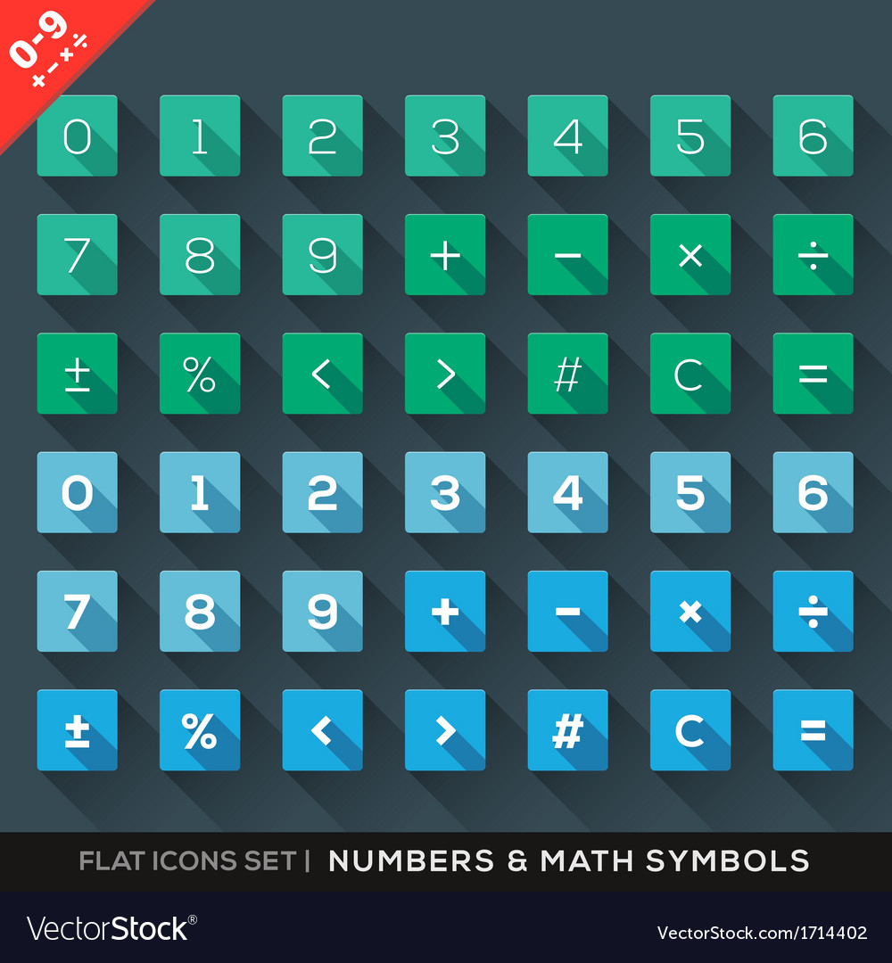 Numbers and math symbols flat icons set with long vector | Price: 1 Credit (USD $1)