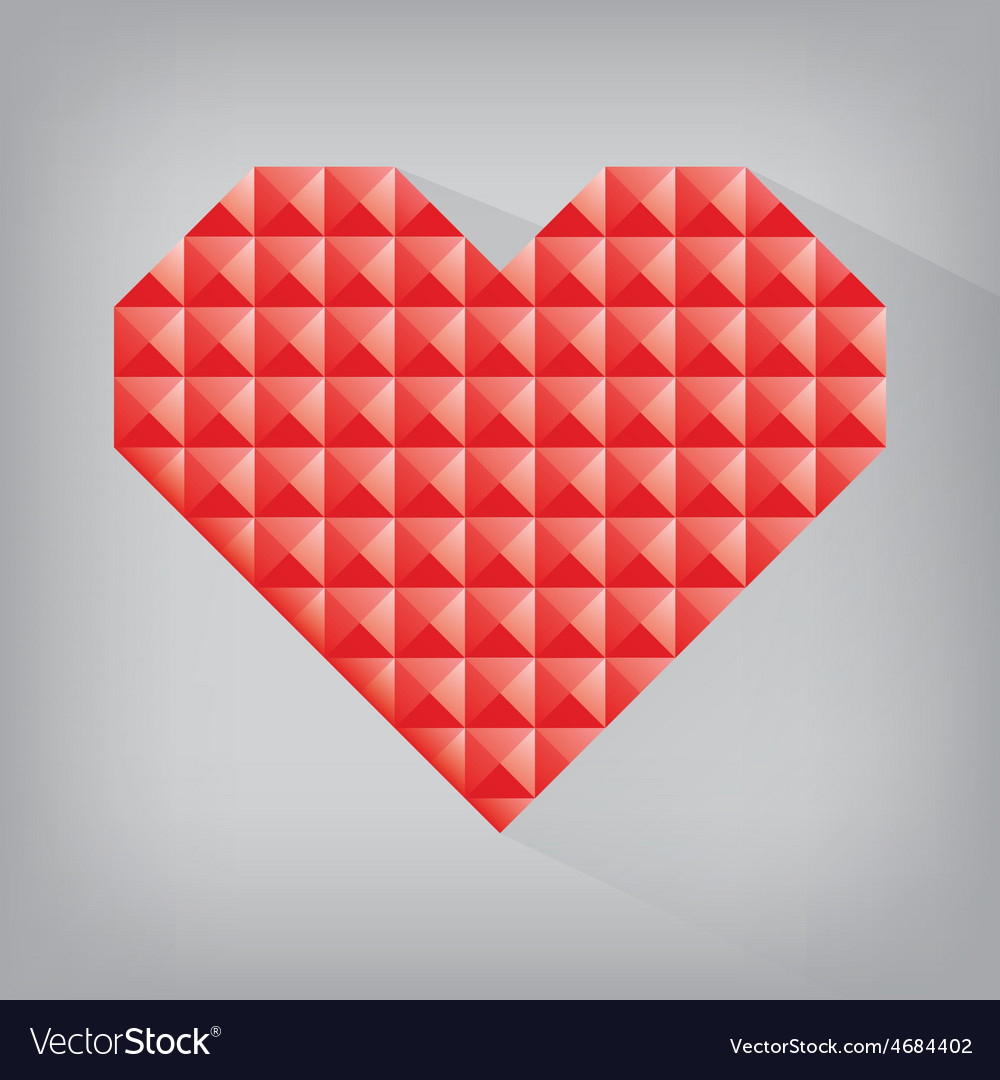 Red retro heart triangle abstract love valentine vector | Price: 1 Credit (USD $1)