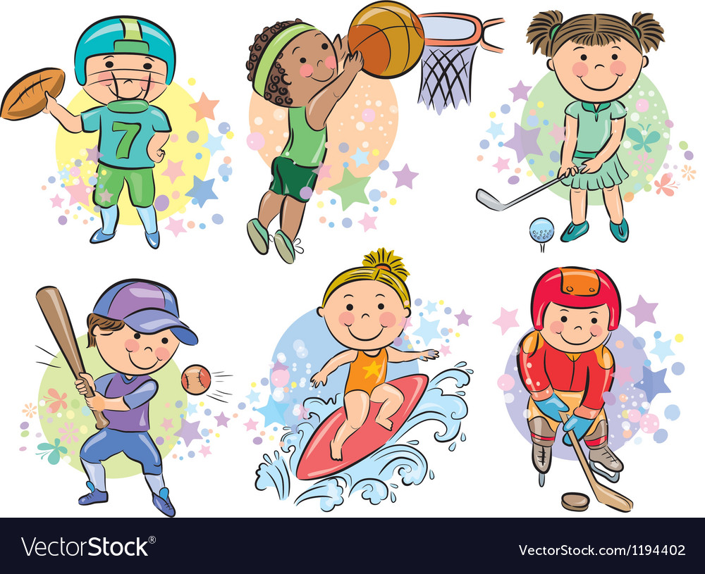 Sporting kids vector