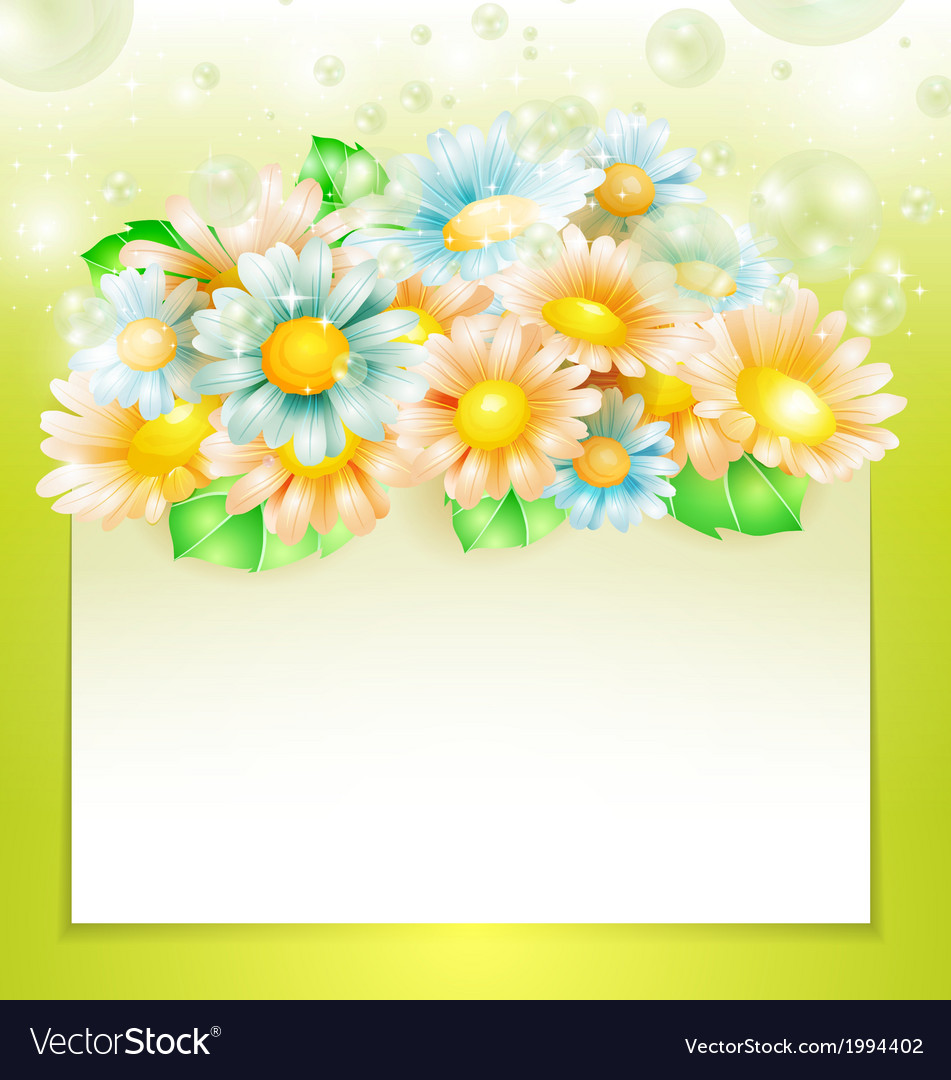 Spring flowers with paper banner vector | Price: 1 Credit (USD $1)