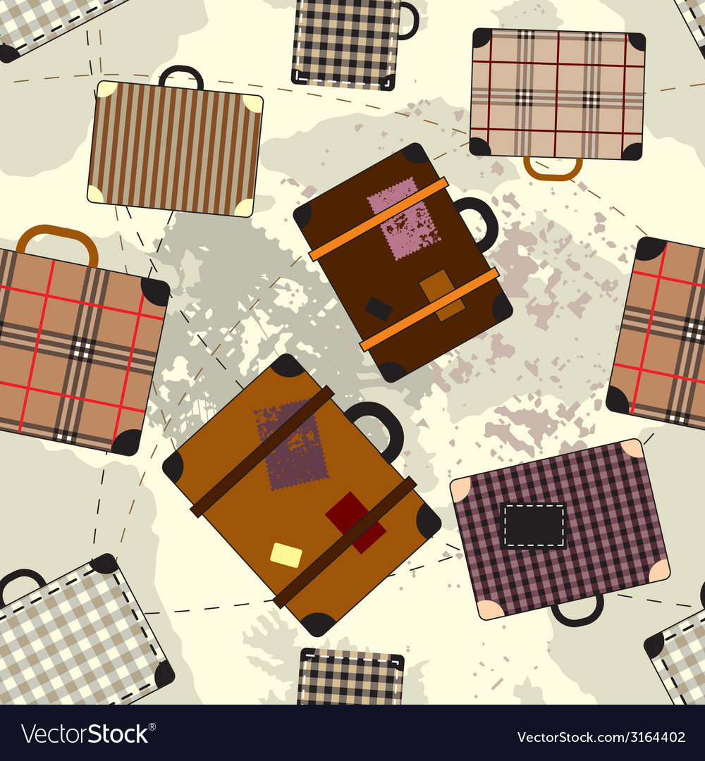Suitcase cartoon pattern vector | Price: 1 Credit (USD $1)