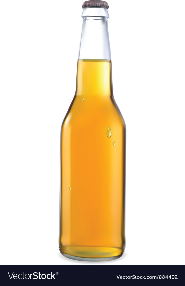 Transparent bottle with light beer vector | Price: 1 Credit (USD $1)