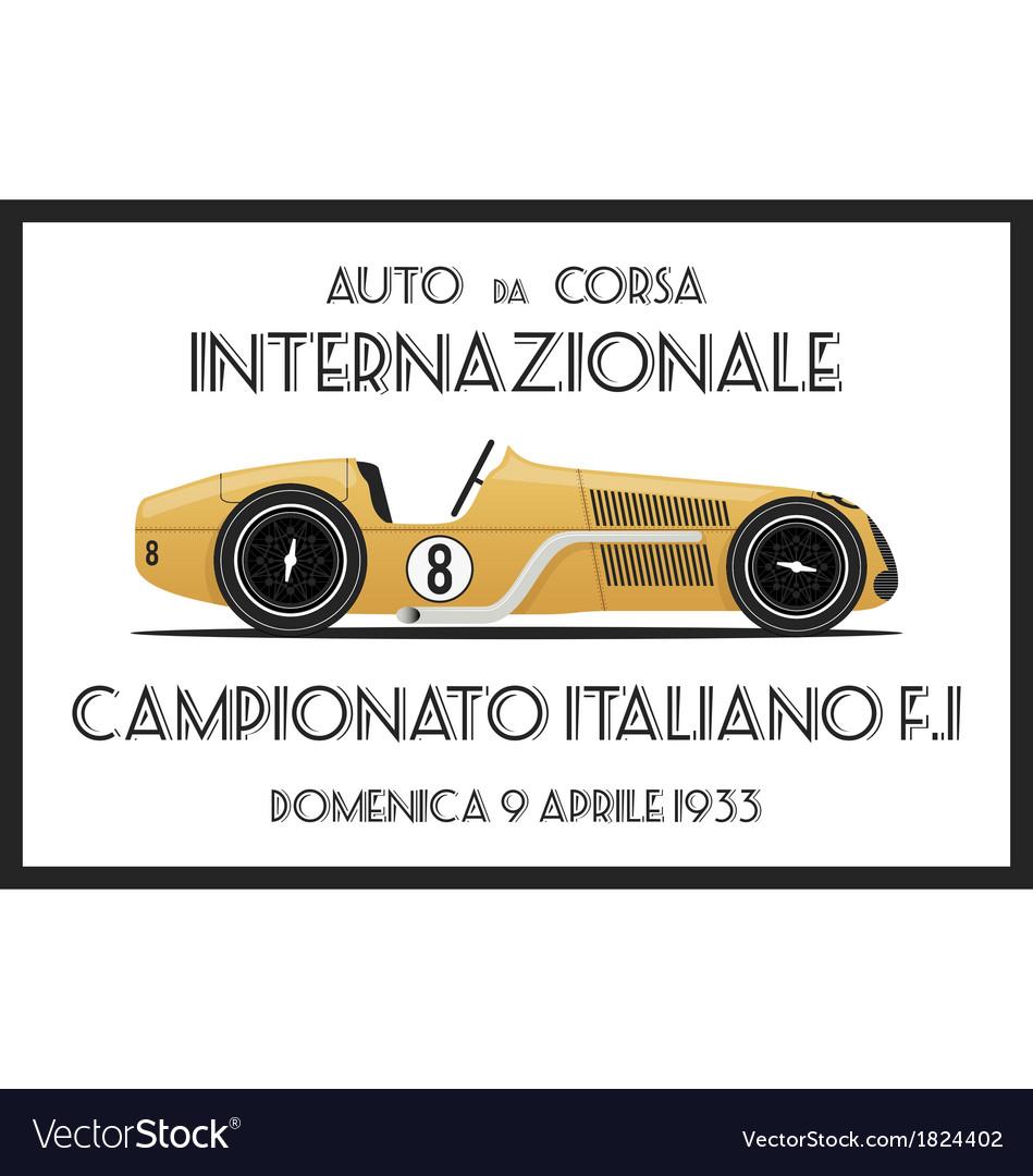 Vintage race car vector | Price: 1 Credit (USD $1)