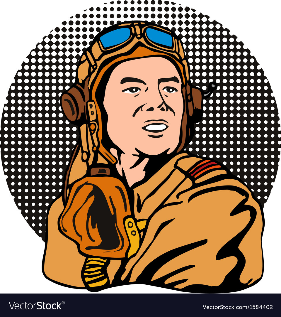 World war two pilot airman retro vector | Price: 1 Credit (USD $1)