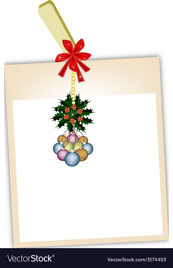 Blank photos with christmas bauble vector | Price: 1 Credit (USD $1)