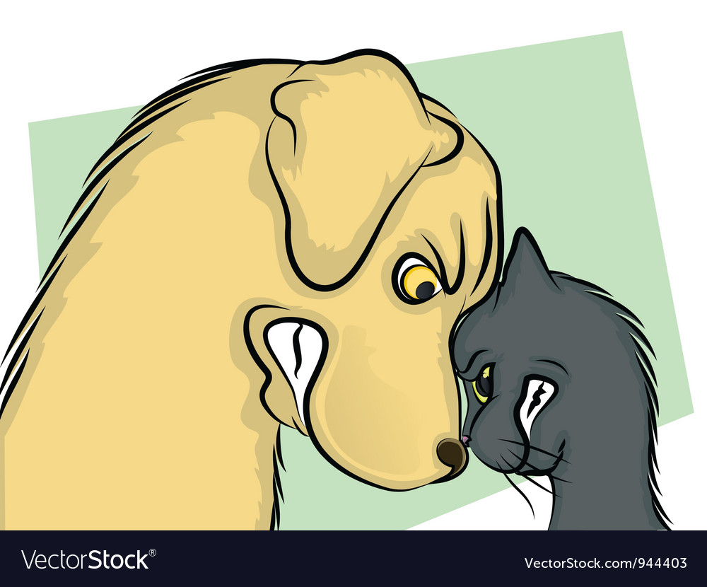 Dog and cat nose to nose vector | Price: 3 Credit (USD $3)