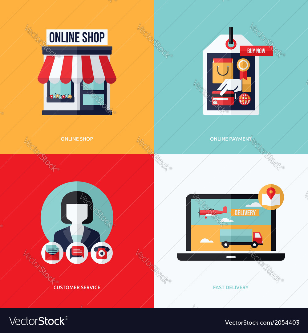 Flat design with e-commerce online shopping icons vector | Price: 1 Credit (USD $1)