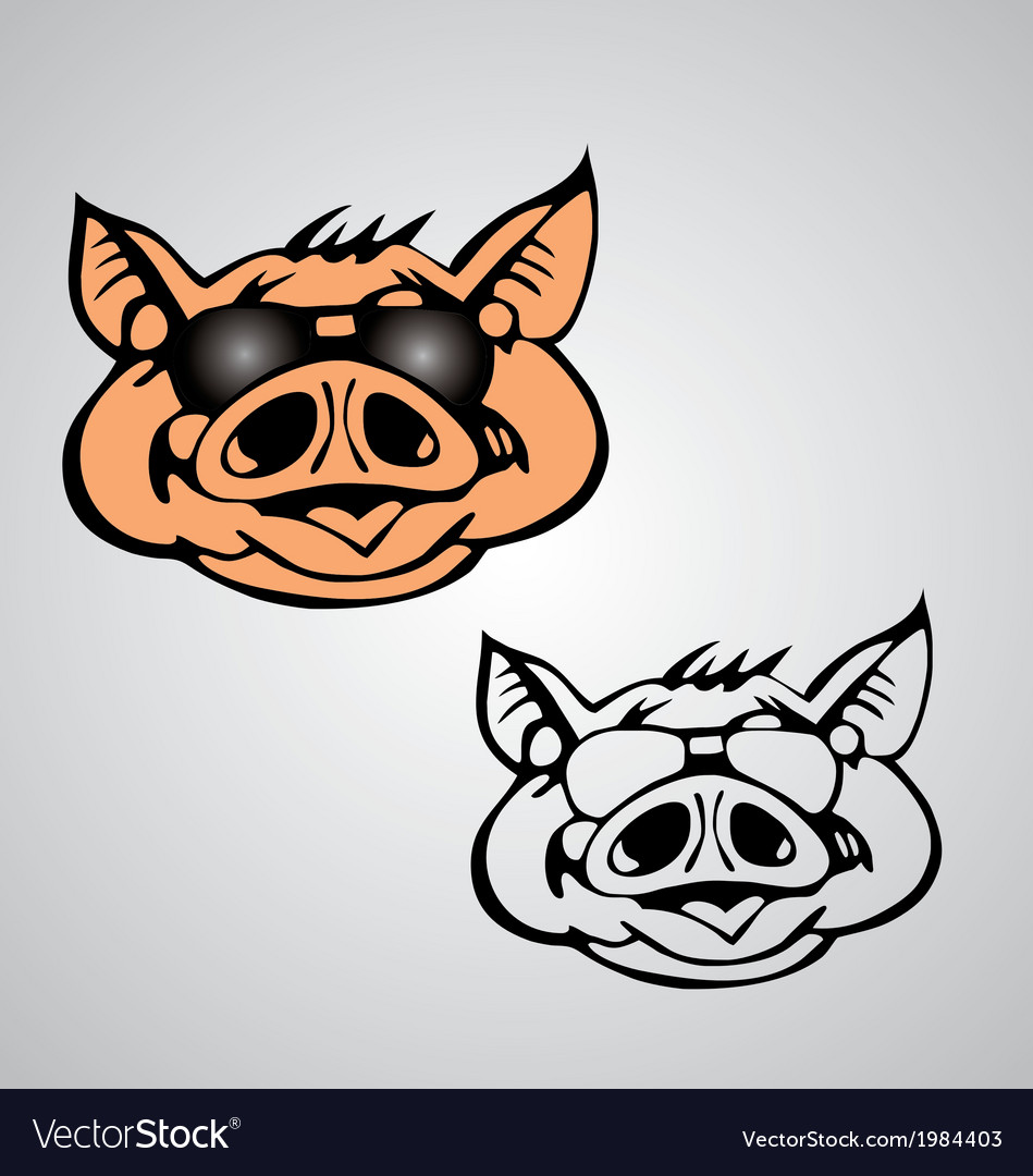 Funny pig face vector | Price: 1 Credit (USD $1)