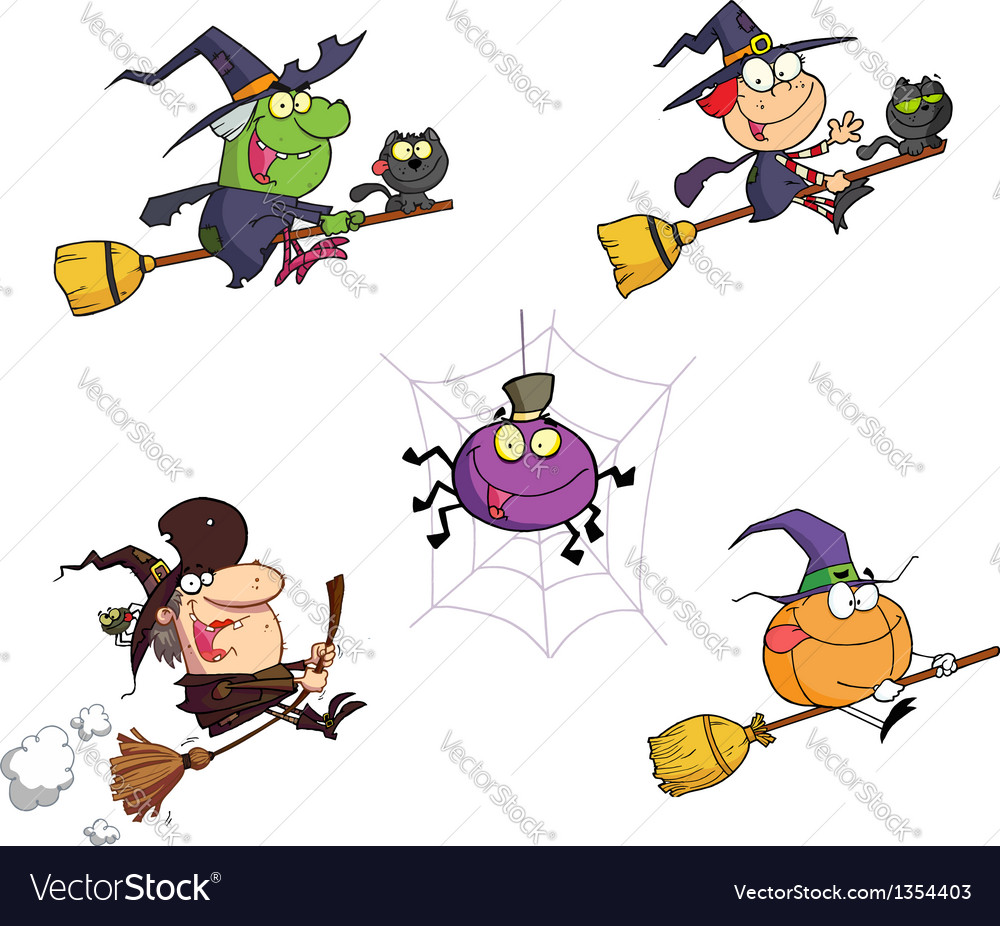 Happy halloween cartoon characters vector | Price: 3 Credit (USD $3)