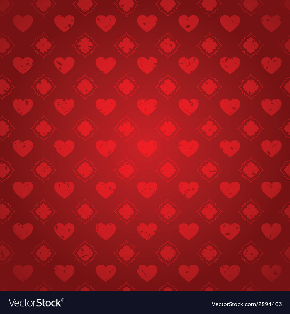 Red vintage hearts distressed seamless background vector | Price: 1 Credit (USD $1)