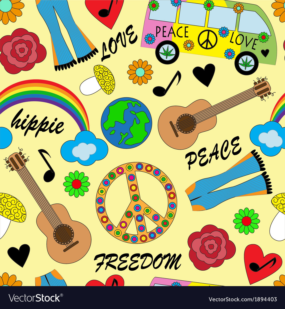 Seamless bright background with accessories hippie vector | Price: 1 Credit (USD $1)