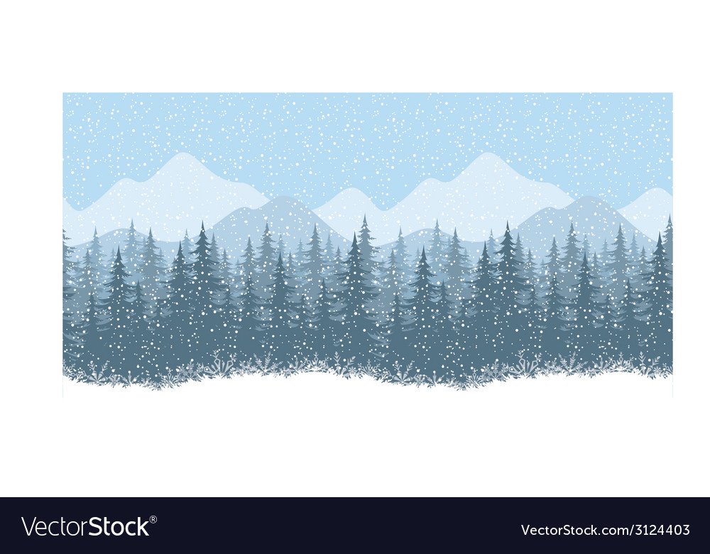 Seamless winter landscape with fir trees vector | Price: 1 Credit (USD $1)