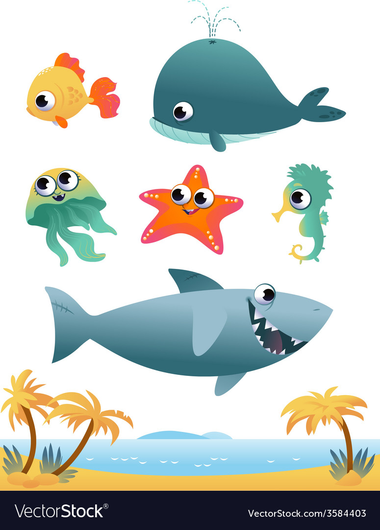 Set of sea animals vector | Price: 1 Credit (USD $1)