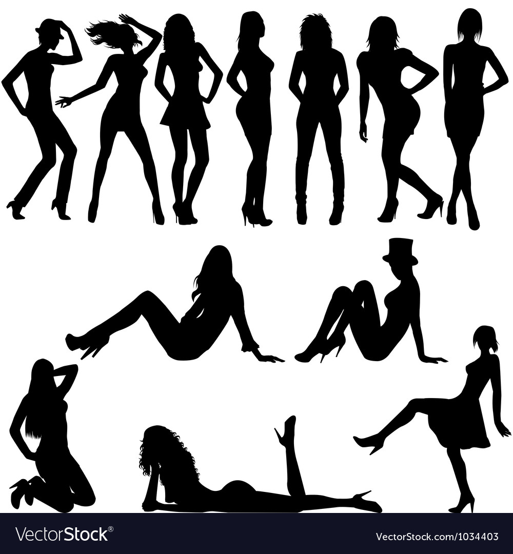 Set of sexy women silhouettes vector | Price: 1 Credit (USD $1)