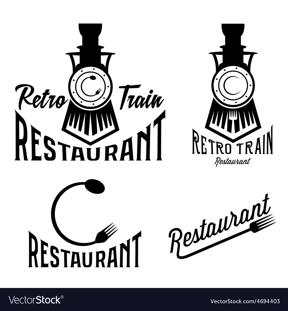Vintage set of retro train restaurant vector | Price: 1 Credit (USD $1)