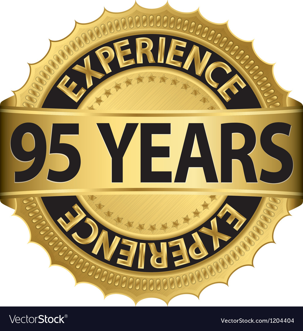 95 years experience golden label with ribbon vector | Price: 1 Credit (USD $1)
