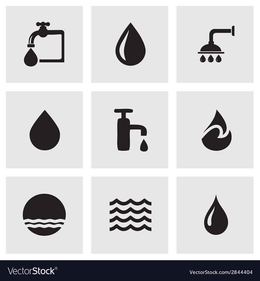 Black water icons set vector | Price: 1 Credit (USD $1)